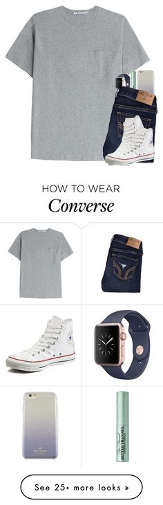"""""""hey"""" by ellerlou on Polyvore featuring Kate Spade, T By Alexander Wang, Too Faced Cosmetics, Hollister Co. and Converse"""