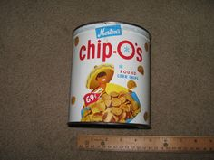 CHIPOS Morton snack food vintage corn chip metal tin can 1950s Mexican fritos