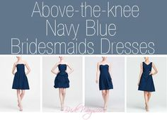 Above the knee Navy Blue #Bridesmaid Dresses