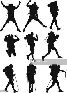 Ilustración de stock : Varias imágenes de hikers People Illustration, Digital Illustration, Persona Vector, Hiking Logo, Logo Site, Silhouette Png, Mountain Logos, Magic Forest, Stencil Patterns