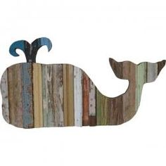 "Eco-friendly whale. Salvaged bead board and antique ceiling tin contribute as the basis of this interesting coastal home accent. Handmade in the US. 34""x18"". - cottage coastal store"