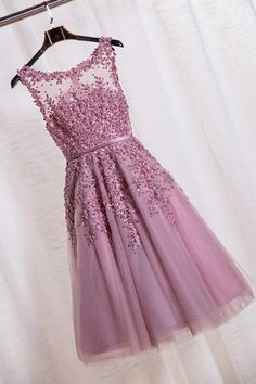 Elegant Scoop Tea Length School Homecoming Dresses Applique Pearls A Line Short Prom Formal Evening Gowns