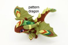 Pattern dragon soft toy felt  plush toy plush   by UniversesSwirls