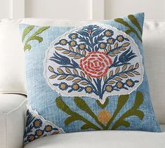 Current Color Scheme?! Kayra Appliqué Pillow Cover #potterybarn