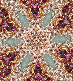 I thought it would be a fun thing to try a kaleidoscope design with some of my chain maille -- I think it's pretty neat!