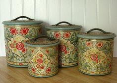 Vintage Jadeite and Rose Pink Shabby Tin Canister Set of 4 These can hold sacks of flour, sugar, coffee, and tea or the varying sizes make Vintage Canisters, Kitchen Canisters, Vintage Tins, Vintage Love, Vintage Kitchen, Vintage Antiques, Vintage Country, Vintage Metal, Vintage Floral