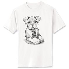 Boxer Pup Dog Art T-Shirt Youth and Adult Sizes by artbyljgrove