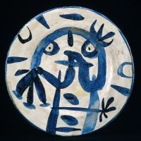 (Plate with Blue and White Glaze) 1956 Joan Miro
