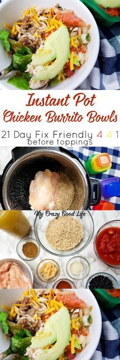 This 21 Day Fix Burrito Bowl recipe is prefect for meal prep day! Cook this Instant Pot Burrito Bowl recipe once and eat all week long! (Frozen Chicken Meals)