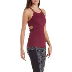 Charlotte Russe Oxblood Active Racer Front Ribbed Tank with Cut-Outs... ($20) ❤ liked on Polyvore featuring activewear, activewear tops, oxblood and charlotte russe