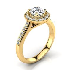 Halo Designer 18K Gold G/VS Round Diamond Engagement Ring 1.1ct by Luxurman