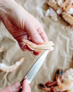 Peeling and deveining shrimp isn't hard. Here's how to do it, exactly the way I was taught at culinary school. How To Peel Shrimp, How To Devein Shrimp, Seafood, Cooking, Bulletin Boards, Beverages, Amp, School, Ideas