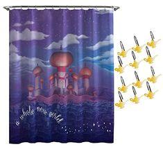 Jay Franco Disney Aladdin Arabian Nights Shower Curtain & Hook Set & Easy Use (Official Disney Product) Disney Shower Curtain, Cool Shower Curtains, Shower Curtain Hooks, Aladdin Arabian Nights, Jasmine Party, Aladdin And Jasmine, Princess Jasmine, Genie In A Bottle, Letter Balloons