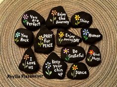 Words - Painted rocks by Phyllis Plassmeyer - 2017