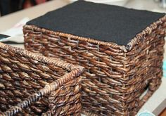 hot glue felt to bottom of baskets to keep them from scratching furniture - NEED to do this w/my baskets!  I have these exact baskets and love them but they do scratch things up