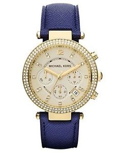 Reloj con correa de cuero azul Parker MK2280 de Michael Kors