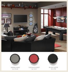 Something like this minus the pool table insert poker/mah jong table and put up some sports memorabilia.
