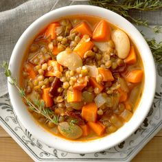 Lentil, Bacon and Bean Soup Recipe -This quick soup feels extra cozy with lots of lentils and a touch of smoky, bacony goodness. You might want to cook up extra—I think it's even better the next day!Janie Zirbser, Mullica Hill, New Jersey Beef Lentil Soup, Lentil Soup Recipes, Barley Soup, High Fiber Meal Plan, High Fiber Dinner, Diet Recipes, Cooking Recipes, Easy Recipes, Paleo Meals