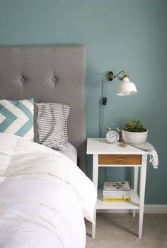 30 IKEA Hacks to Freshen Up Your Bedroom – Hemnes Nightstand: Underneath that paint is natural wood just waiting to get out. With a little sanding and gloss, upgrade the Hemnes side table into a stylish nightstand. (via Apartment Therapy). Furniture, Teal Rooms, Home, Home Bedroom, Bedroom Diy, Ikea, Ikea Nightstand, Bedroom Decor, Ikea Hemnes Nightstand