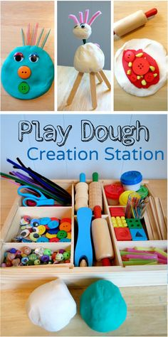 Play Dough Creation Station *Super simple play prompt that will keep your child entertained. I don't think to add buttons, pipe cleaners, beads and such Playdough Activities, Learning Activities, Preschool Activities, Creation Activities, Play Based Learning, Indoor Activities, Family Activities, Messy Play, Toddler Fun