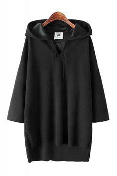 Plain High Low Hem Batwing Sleeve Loose Hoodie Sweatshirt