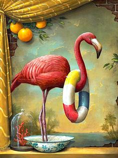 flamingo in a splash pool by Kevin Sloan