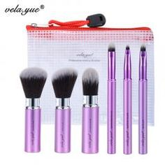 [ 45% OFF ] Vela.yue Makeup Brush Set 6Pcs Travel Beauty Tools Kit Retractable With Cover And Case