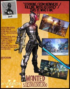 Borderlands 2 Wanted Posters - Zer0 by NerdscapeDesigns on Etsy https://www.etsy.com/listing/277815594/borderlands-2-wanted-posters-zer0