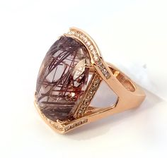One of a kind Rutilated Quartz Ring in Rose Gold   #trendsetter #fashionforward #frd  #frankreubeldesigns #jewelry design #jewelry-designer #jewelry  #love #gemstone #award-winning #designer #fashion #style #emerald #ring #aquamarine #march-birthstone #gold #diamonds #frank #reubel  #newdesign #jck #jckbound #vegas #jckvegas #unique #highend #fine-jewelry #sparkle #bling #celebrity #necklace #shopping #name #brand #famous #nice #beautiful #earrings #necklace #bracelet #accessories