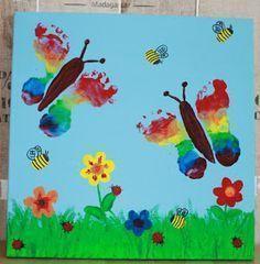 Hand painting for kids BiBablo: Fussabdruck-Bild Daycare Crafts, Baby Crafts, Toddler Crafts, Preschool Crafts, Diy For Kids, Crafts For Kids, Footprint Crafts, Butterfly Crafts, Butterfly Footprints