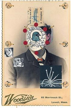 From Muriel Guépin Gallery, Emerson Cooper, Bird Man Mixed media on albumen print, 4 × 6 in Kurt Schwitters, After Life, Postmodernism, Off Colour, Emerson, All Art, Bird Man, Mixed Media, Artsy