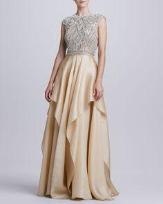 Beaded-Bodice Ruffle-Skirt Ball Gown by Naeem Khan at Neiman Marcus.