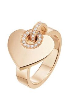 BVLGARI ring in pink gold with pave diamonds. Features a heart charm Heart Jewelry, Bling Jewelry, Jewelry Gifts, Jewelry Accessories, Jewelry Design, Jewellery, Heart Ring, Gold Heart, Bulgari Jewelry