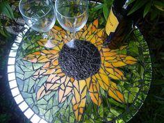 Glass Sunflower Bird Baths | Sunflower mosaic table.