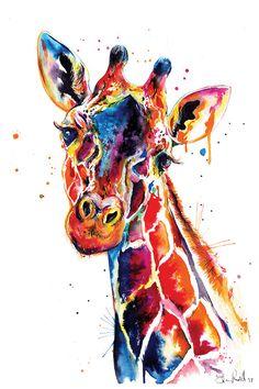 Colorful giraffe watercolor - print of original giraffe art (no .- Colorful giraffe watercolor print from original giraffe art - Giraffe Painting, Giraffe Art, Painting Prints, Canvas Prints, Art Prints, Giraffe Drawing, Bull Painting, Giraffe Nursery, Drip Painting
