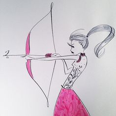 # Archery project Source by Beauty Illustration, Cute Illustration, Fashion Design Drawings, Sketch Fashion, Doodle Girl, Tape Art, Drawing Projects, Whimsical Art, Book Cover Design