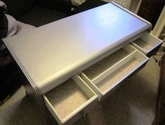 Silver Painted Desk/Vanity - GLAM - new liners - 85.00