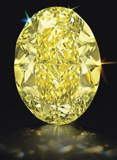 68-Carat Unmounted Oval-Cut Fancy Yellow Diamond.   Fancy intense yellow, natural color, internally flawless clarity has excellent polish and excellent symmetry. Estimate, $2.2 million - $3.2 million. Sold for $3,160,000 by Christies Oct. 2012.