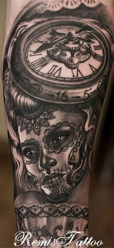 Day of the Dead tattoo - Black and gray YES PLEASE, hmm and the clock will be set to a very special time a very special little boy was born?! #CreativeGenius!