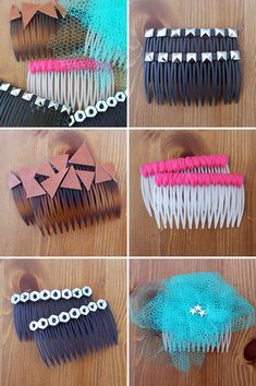 Cute handmade side-combs. Perfect girl's night project.