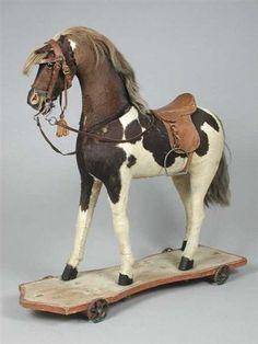 Rocking horse, black and white spotted with saddle and harness Antique Rocking Horse, Rocking Horse Toy, Vintage Horse, Antique Toys, Vintage Antiques, Wooden Horse, We Will Rock You, Painted Pony, Hobby Horse