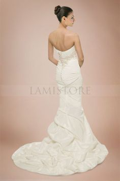 Fascinating Mermaid Strapless Ruche Taffeta Wedding Gowns with Beaded and Sequined Appliques : Lamistore.com