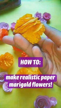 Paper Peonies, Marigold Flower, Tissue Paper Flowers, Paper Flower Tutorial, Glue Sticks, Types Of Flowers, Diy Party Decorations, Crepe Paper, Diy Wall Art