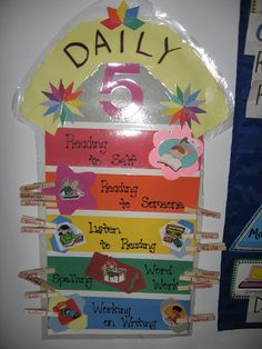daily five check in.... maybe give each student a clothespin for each section to take off once they have done that activity, put clothespins in jars of corresponding colors...?  still thinking about this.