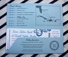 Fuchsia, Royal & Light Blue Swirls & Itinerary Map Cruise Ticket Wedding Invitations