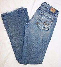BKE Starlite 18 heavily distressed medium blue denim boot cut jeans SZ 29 X 35.5