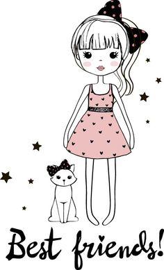 Cute girl cartoon style vector set 02