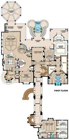 Luxury Plan: 8,364 Square Feet, 6 Bedrooms, 6 Bathrooms - 1018-00254 Luxury House Plans, Dream House Plans, House Floor Plans, Luxury Floor Plans, The Plan, How To Plan, Villa, Mediterranean Homes, Tuscan Homes