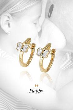 Baby earings Flappy, handmade, natural gemstones: diamonds & yellow gold. Uletieť do sveta fantázie sa podarilo našim kreatívnym klenotníkom pri detských náušničkách Flappy v tvare motýľa. Zároveň však mysleli na to, aby nikdy neuleteli. Inak povedané bezpečné detské zapínanie, ručné osadenie prírodných diamantov a hypoalergénne 14-karátové žlté zlato robia z Flappy náušníc krásny a komfortný detský klenot. Natural Gemstones, Wedding Rings, Engagement Rings, Diamond, Earrings, Jewelry, Fashion, Enagement Rings, Ear Rings