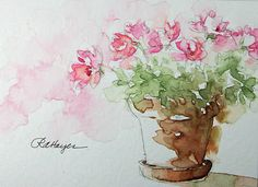 "Pink Flowers in Terra Cotta,  by rose Ann Hayes. This was a quick sketch I did the other day while listening to Artists Helping Artists, a wonderful ""blog radio"" site that I discovered a few months ago. Posted by RoseAnn Hayes at 6:46 PM"
